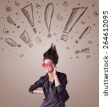 young woman with hair style and ...   Shutterstock . vector #264612095