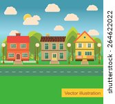 suburb street with family... | Shutterstock .eps vector #264622022