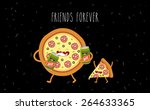pizza and beer. fastfood.... | Shutterstock .eps vector #264633365