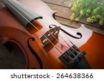 close up of violin on wooden... | Shutterstock . vector #264638366