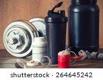 whey protein powder in scoop... | Shutterstock . vector #264645242