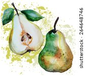 pears watercolor | Shutterstock .eps vector #264648746