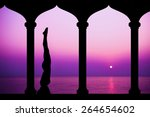 silhouette of woman making yoga ... | Shutterstock . vector #264654602