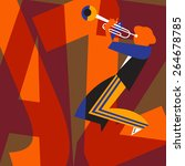 trumpet player performs jazz.... | Shutterstock .eps vector #264678785