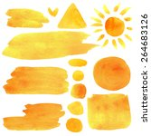Watercolor Orange  Yellow  Sun...