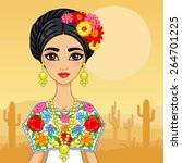animation mexican girl in an... | Shutterstock .eps vector #264701225