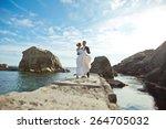 portrait of beautiful bride and ... | Shutterstock . vector #264705032