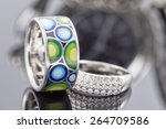 Silver Ring With Precious...