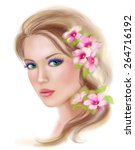 spring summer beauty woman... | Shutterstock . vector #264716192