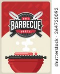 barbecue party invitation | Shutterstock .eps vector #264720092