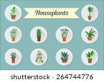 set of flat vector icons. house ... | Shutterstock .eps vector #264744776