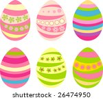 set of sixr easter eggs with... | Shutterstock .eps vector #26474950