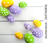 colorful easter eggs with white ...   Shutterstock . vector #264760856