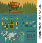 fishing infographic elements ... | Shutterstock .eps vector #264764336