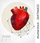 abstract polygonal heart.... | Shutterstock .eps vector #264766622
