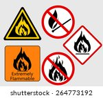 extremely flammable  burning... | Shutterstock .eps vector #264773192