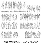 silhouettes of walking people ... | Shutterstock .eps vector #264776792