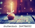 Cupcake With Bow And Candle  ...