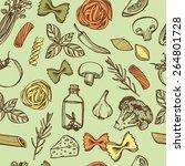 hand drawn italian pasta... | Shutterstock . vector #264801728