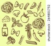 hand drawn italian pasta set.... | Shutterstock . vector #264801752