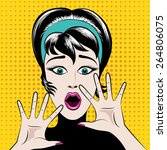 scared pop art woman with his... | Shutterstock .eps vector #264806075