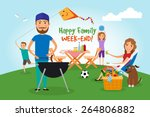 family picnic. bbq party. food... | Shutterstock .eps vector #264806882