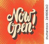 now open sign.  | Shutterstock .eps vector #264808262