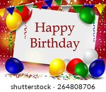 birthday card with colorful... | Shutterstock .eps vector #264808706