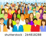 group of casual people face big ... | Shutterstock .eps vector #264818288