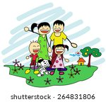 happy family hand drawing ... | Shutterstock .eps vector #264831806
