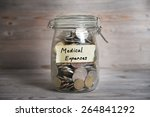 coins in glass money jar with... | Shutterstock . vector #264841292