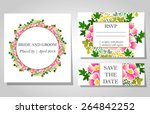 wedding invitation cards with... | Shutterstock .eps vector #264842252