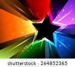 Black Star With Rainbow Rays...