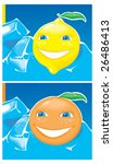 lemon and orange in blue ice.... | Shutterstock .eps vector #26486413