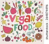 lovely vegan food concept card... | Shutterstock .eps vector #264874496