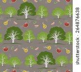 seamless texture with garden... | Shutterstock .eps vector #264876638
