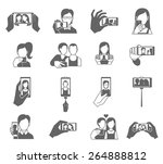 selfie icons black set with...   Shutterstock .eps vector #264888812