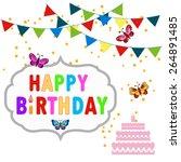 happy birthday decoration set... | Shutterstock .eps vector #264891485