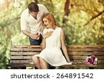 man holding red box with ring... | Shutterstock . vector #264891542
