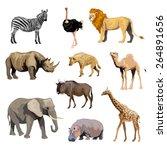 Wild African Animals Set With...