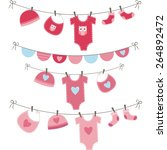 Stock vector baby girl shower collections 264892472