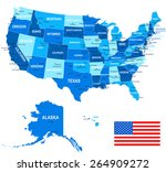 united states   map  flag and... | Shutterstock .eps vector #264909272