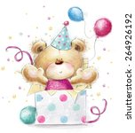 teddy bear with the gift... | Shutterstock . vector #264926192