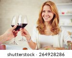 happy young woman with glass of ... | Shutterstock . vector #264928286