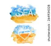 vector watercolor sea. it can... | Shutterstock .eps vector #264934328