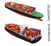 3d Cargo Container Ship On...