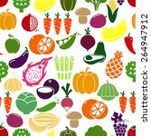 vegetables and fruits... | Shutterstock .eps vector #264947912