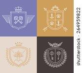 vector linear heraldry symbols... | Shutterstock .eps vector #264959822