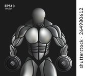 handsome muscular bodybuilder... | Shutterstock .eps vector #264980612