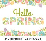 hello spring flowers text... | Shutterstock .eps vector #264987185